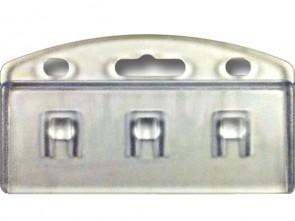 Kartenhalter zum Einklemmen eines Ausweises mit Euroloch und Rundlöchern im Hochformat