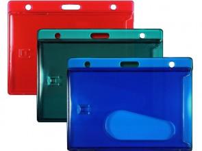 Querformat Tragehülle für Ausweise mit  Langloch, 2 Rundlöchern und Daumenausschub, rot grün blau