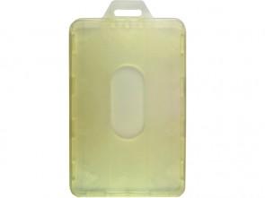 Hochformat Tragehülle für Ausweise, antistatisch, mit 1 Langloch und Daumenausschub, gelb