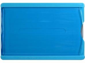 Tragehülle für Ausweise mit verschiebbarer Front zum Herausnehmen der Karte, blau