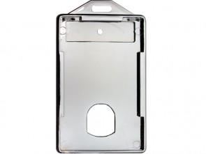Hochformat Kartenhalter aus verchromtem Kunststoff mit Langloch