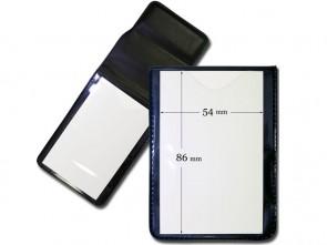 Hochformat Tragehülle für Ausweise, weich, klappbar mit Magnetverschluss Frontansicht