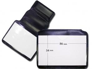 Querformat Tragehülle für Ausweise, weich, klappbar mit Magnetverschluss, Frontansicht